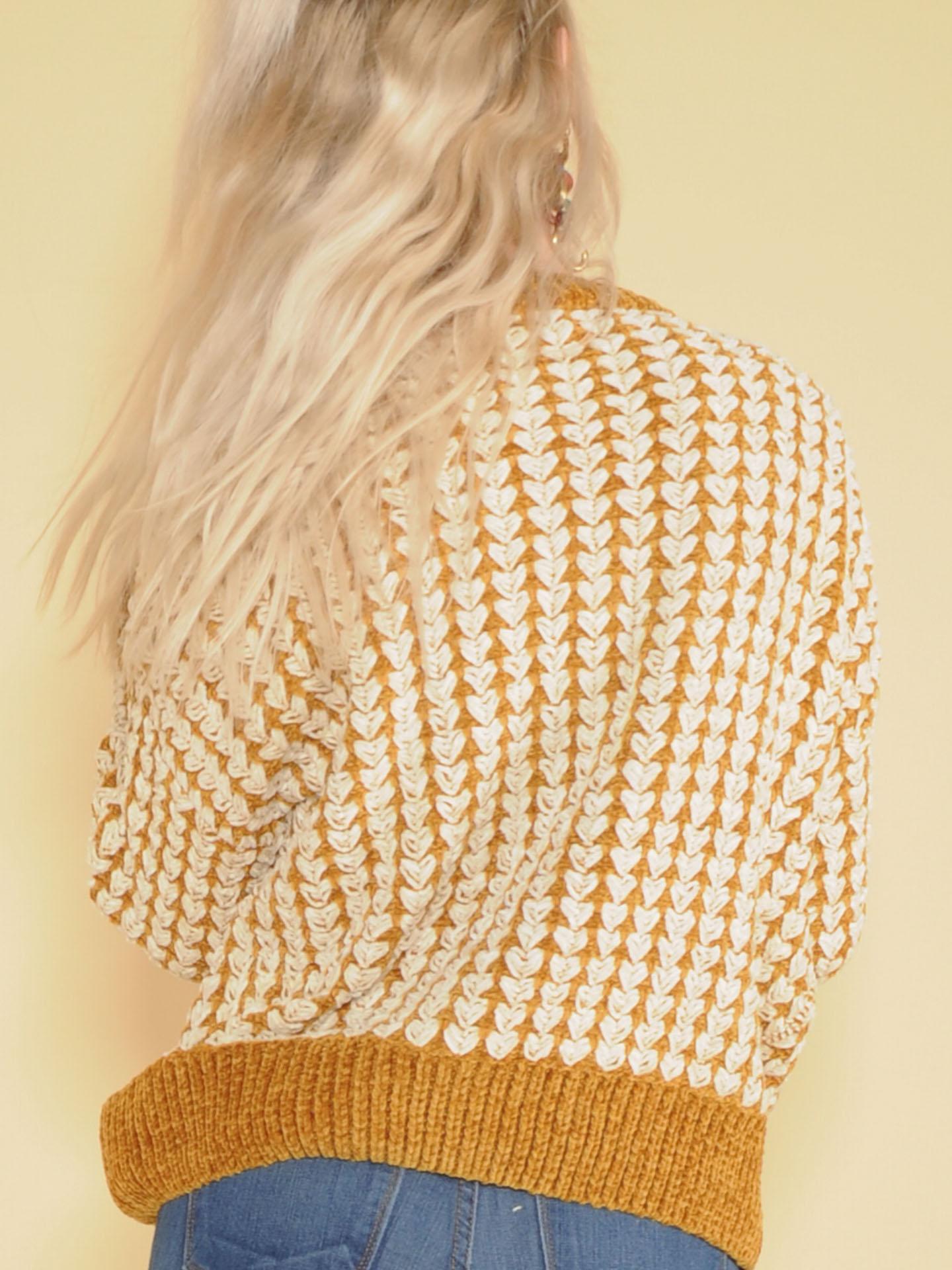 Kathleen Sweater Mustard & White Tight Soft Knit Back