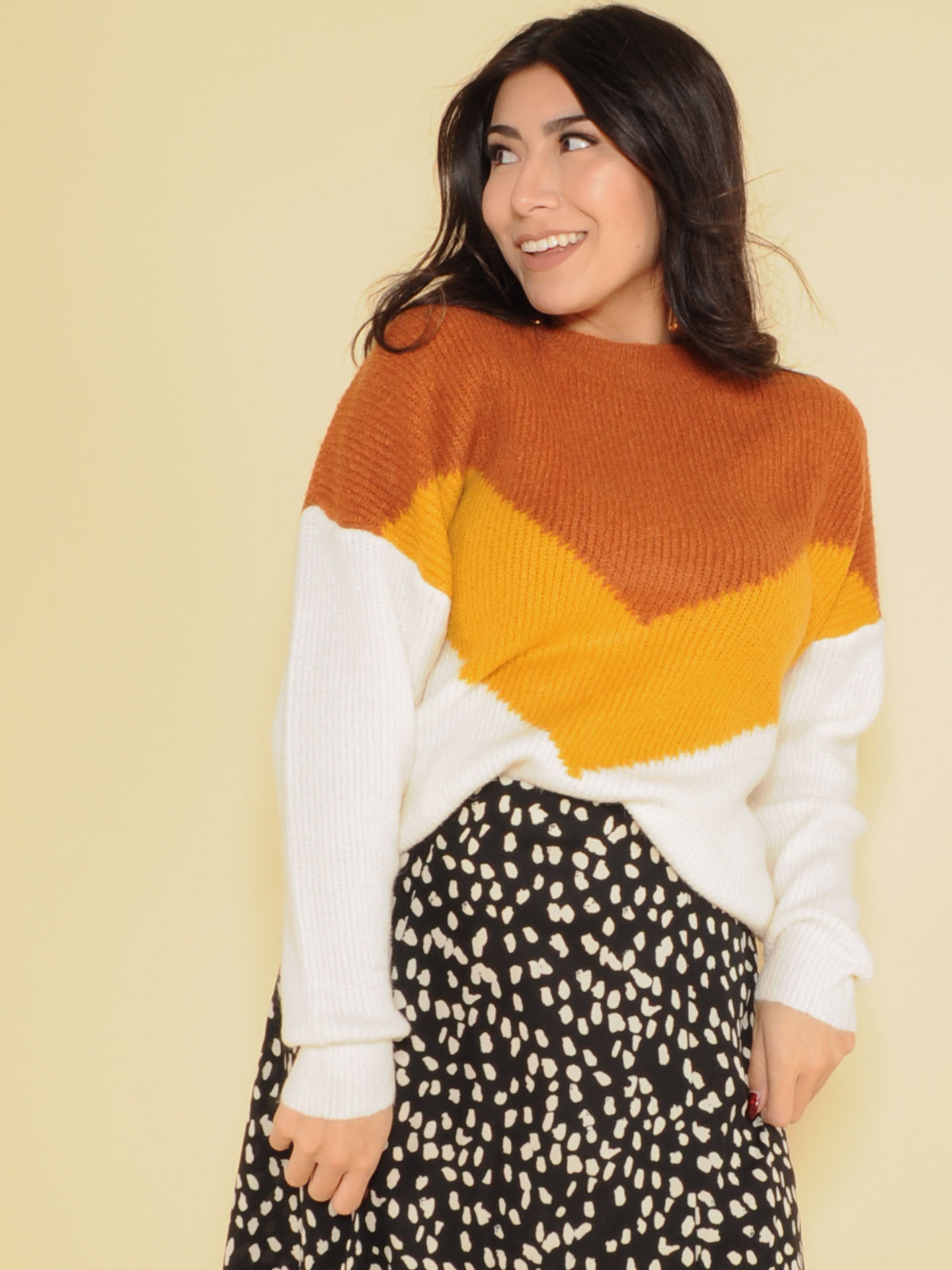 Brynlee Sweater Vintage Inspired Sweater Orange & Mustard Front