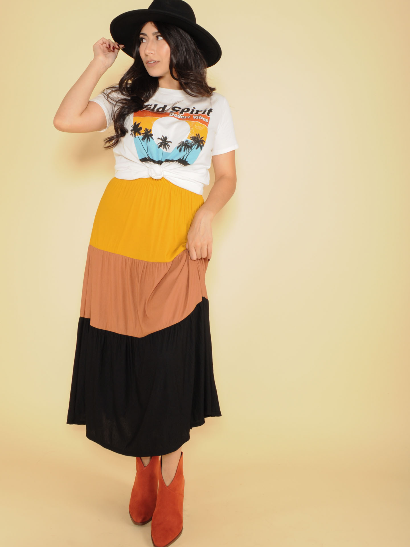 Autumn Maxi Skirt High Rise Color Stripe Front