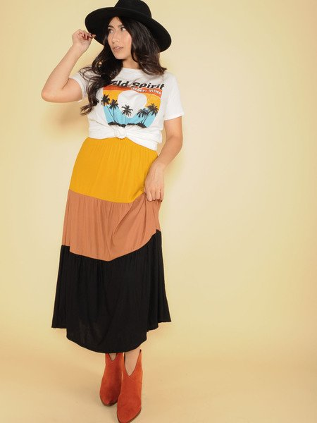 Autumn Maxi Skirt High Rise Color Stripe Front
