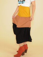 Autumn Maxi Skirt High Rise Color Stripe Side