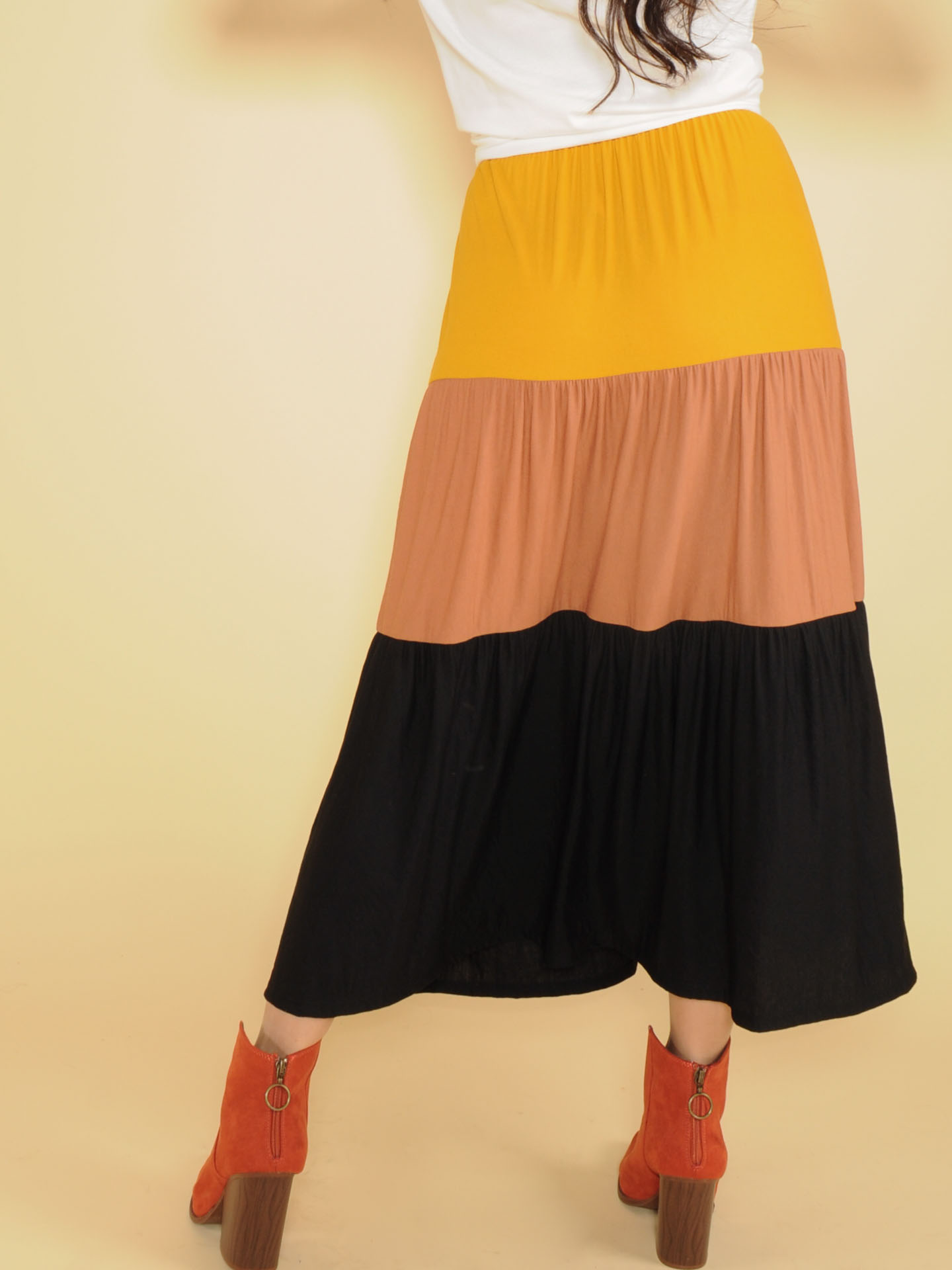 Autumn Maxi Skirt High Rise Color Stripe Back