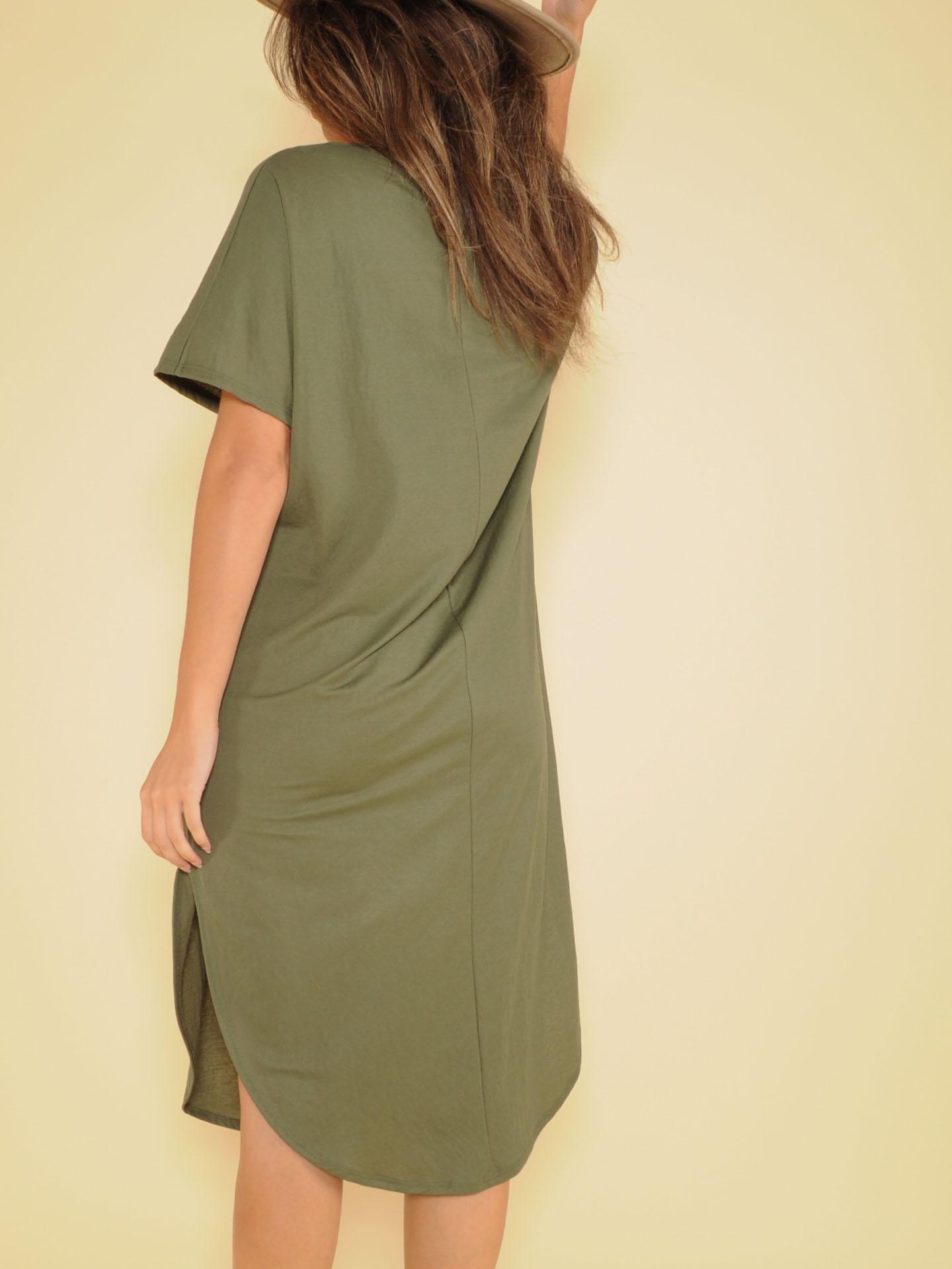 Manny Tee Dress Basic Maxi V Neck Olive Back