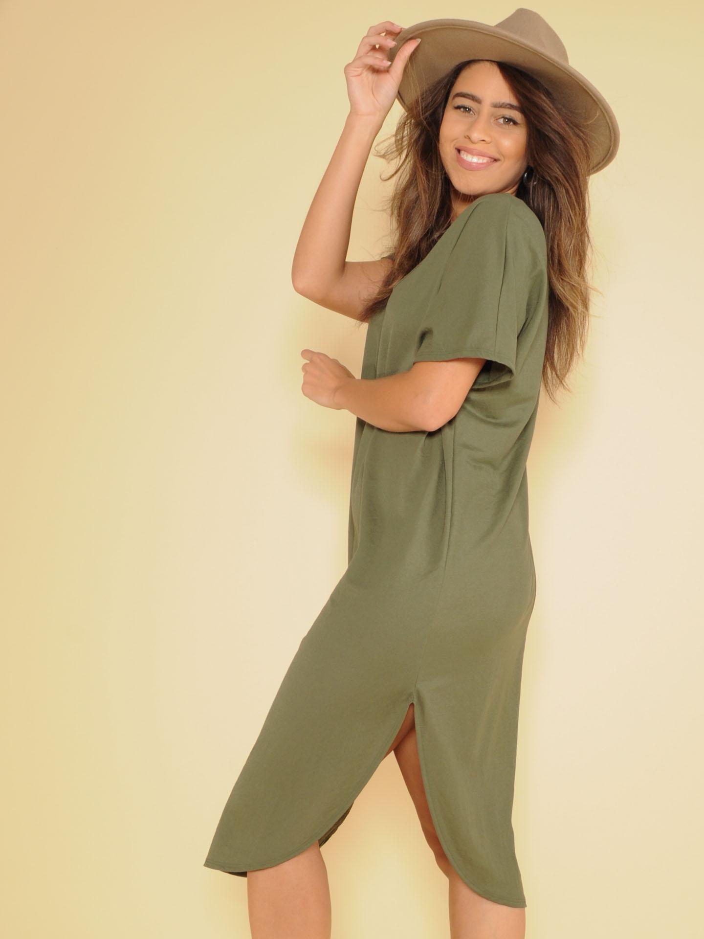 Manny Tee Dress Basic Maxi V Neck Olive Side