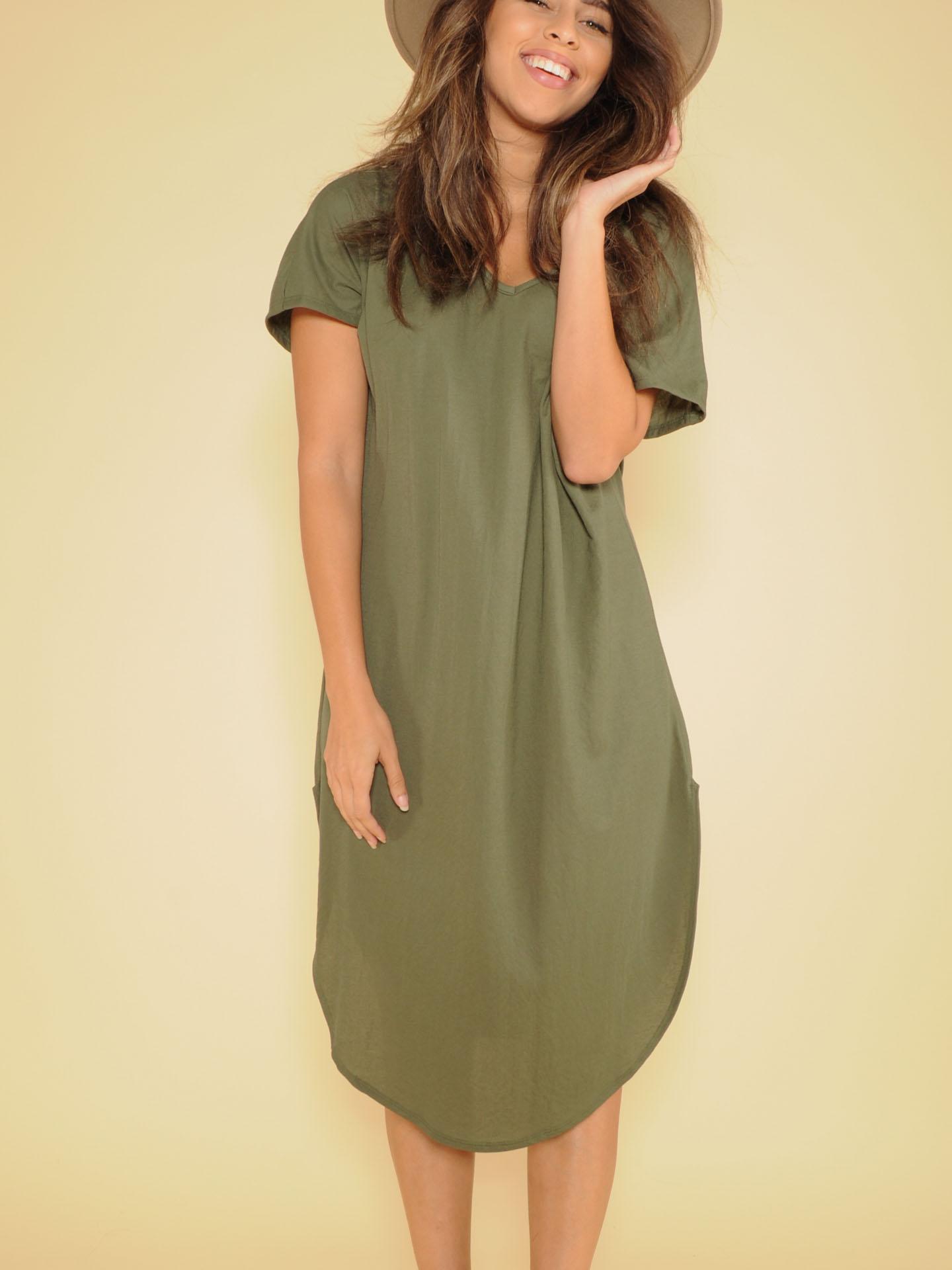 Manny Tee Dress Basic Maxi V Neck Olive Front