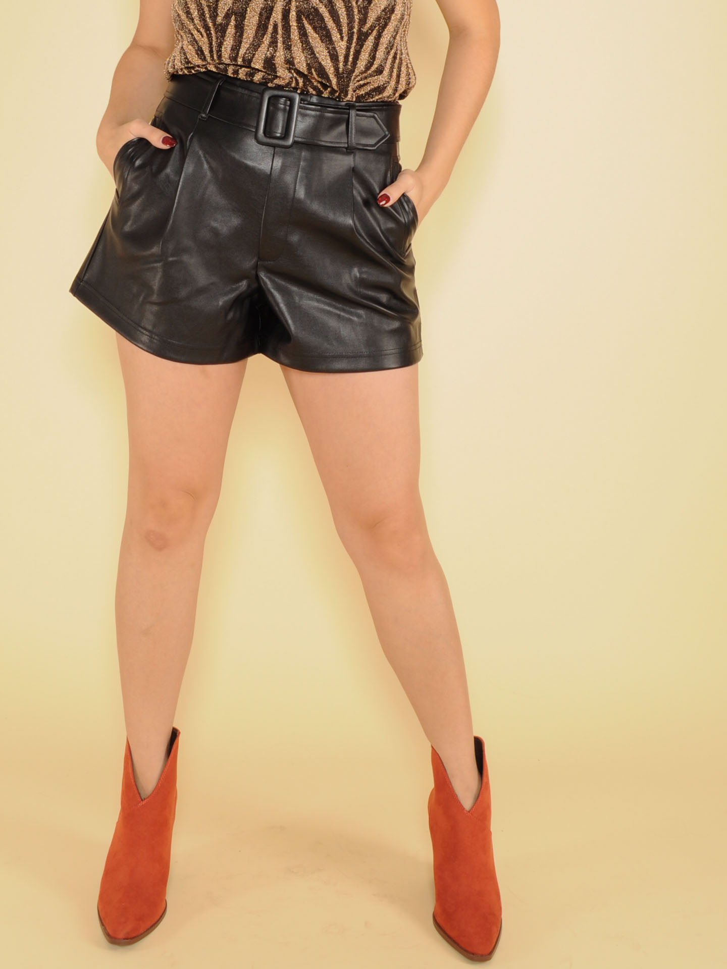 Double Take Shorts Faux Leather Relaxed Front