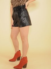 Double Take Shorts Faux Leather Relaxed Side