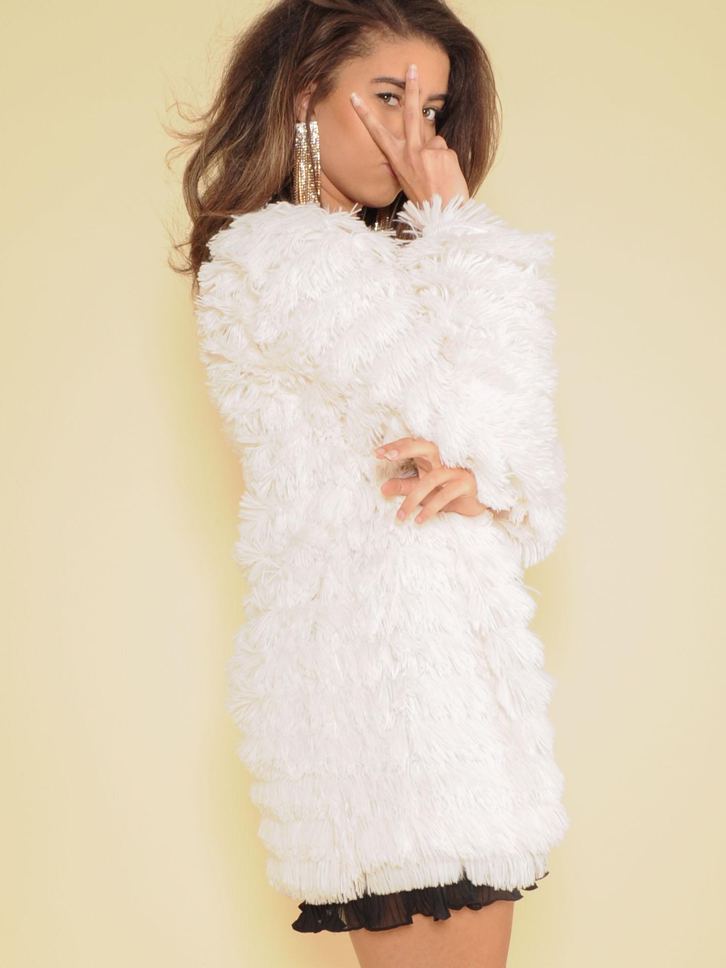 Myla Jacket Soft Cream Tassel Layer Side