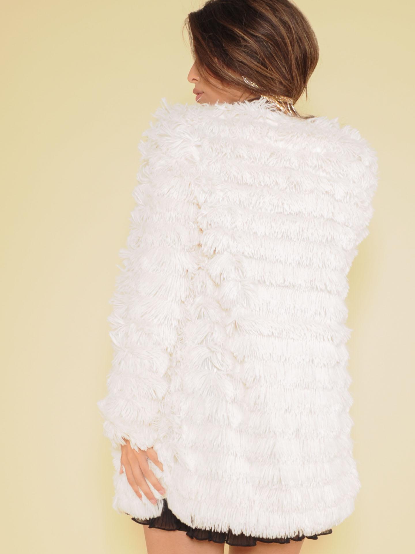Myla Jacket Soft Cream Tassel Layer Back