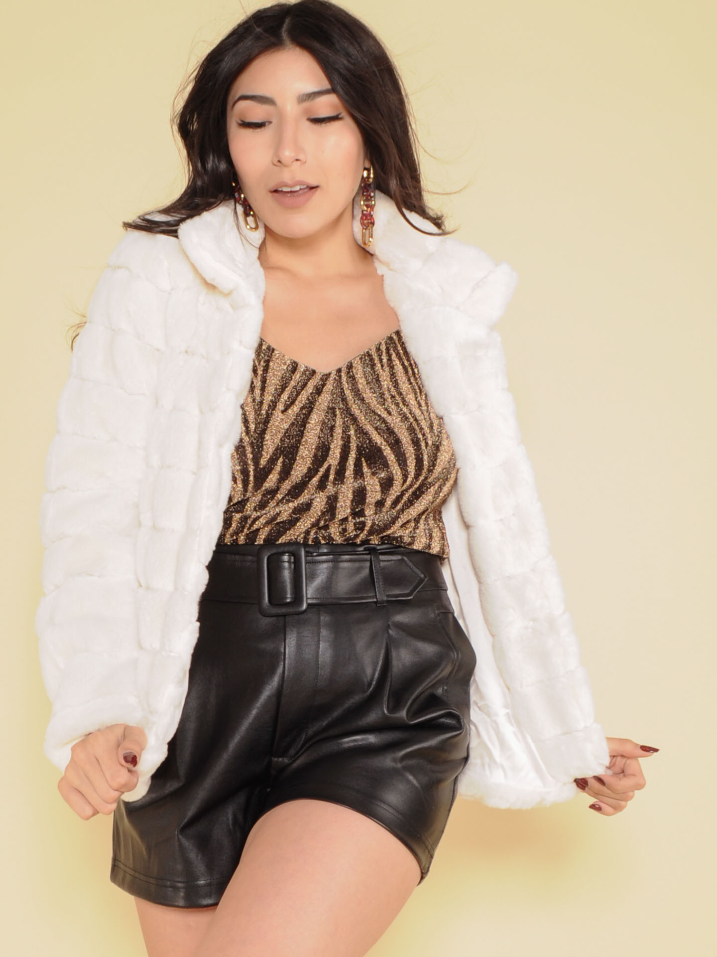 Amira Jacket Ribbed Faux Fur Panel Coat White Front