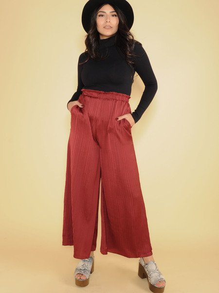 Sawyer Silk Pants Synched Rouch High Rise Burgundy Front