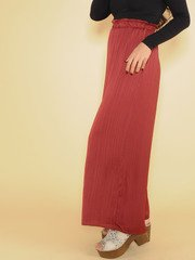 Sawyer Silk Pants Synched Rouch High Rise Burgundy Side