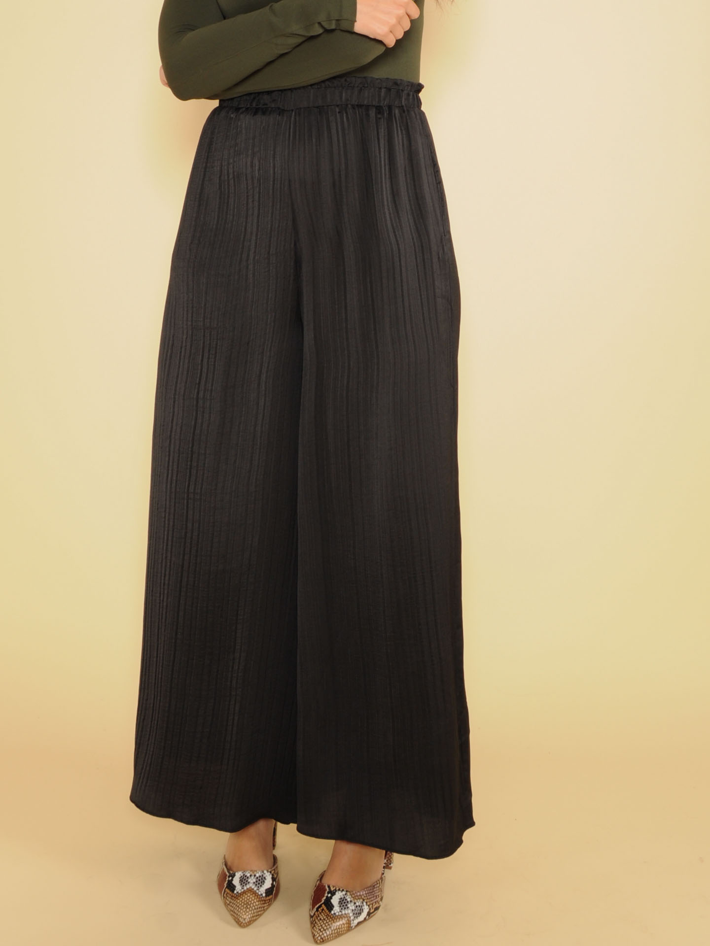 Sawyer Silk Pants Synched Rouch High Rise Black Front