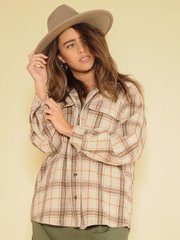 Dawn Shacket Thick Flannel Button Up Front