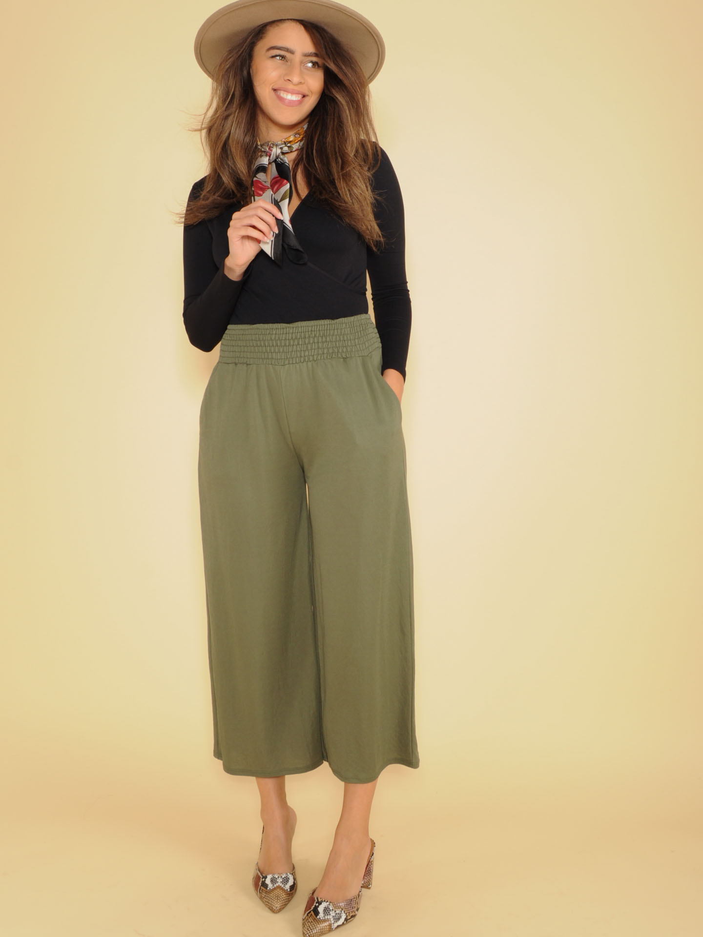 High Rise Flowy Smocked Olive Nina Comfy Pants