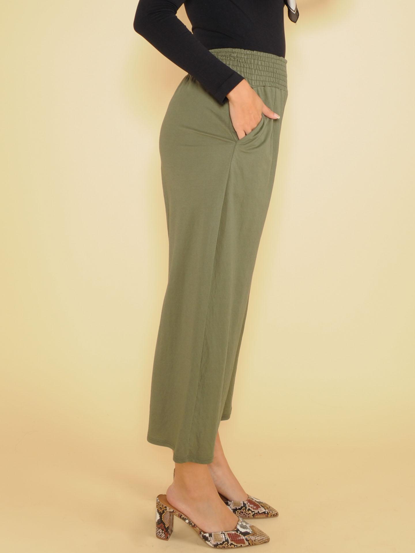 High Rise Flowy Smocked Olive Nina Comfy Pants Side