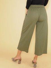 High Rise Flowy Smocked Olive Nina Comfy Pants Back