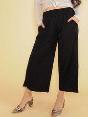 High Rise Flowy Smocked Black Nina Comfy Pants Front