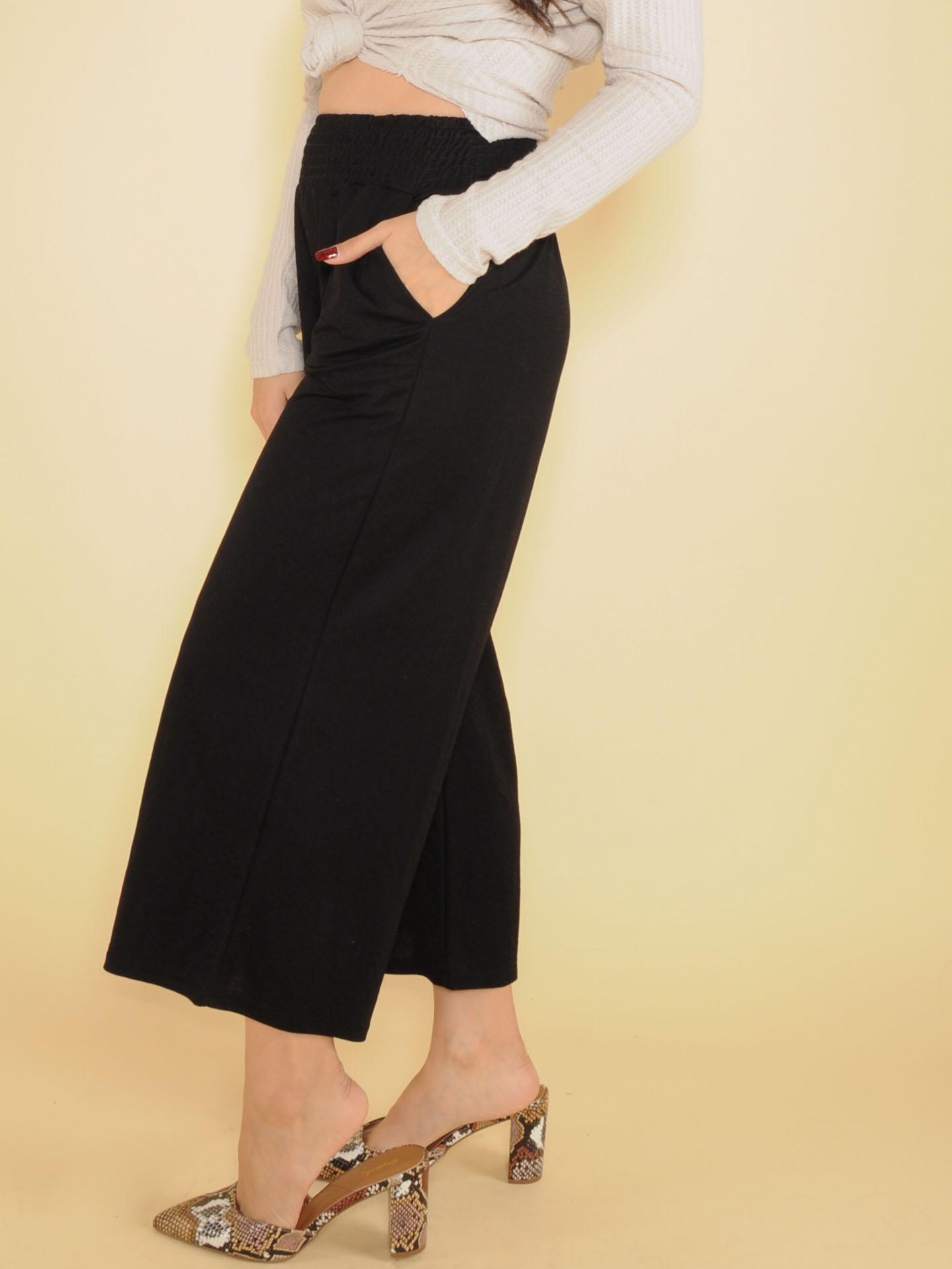 High Rise Flowy Smocked Black Nina Comfy Pants