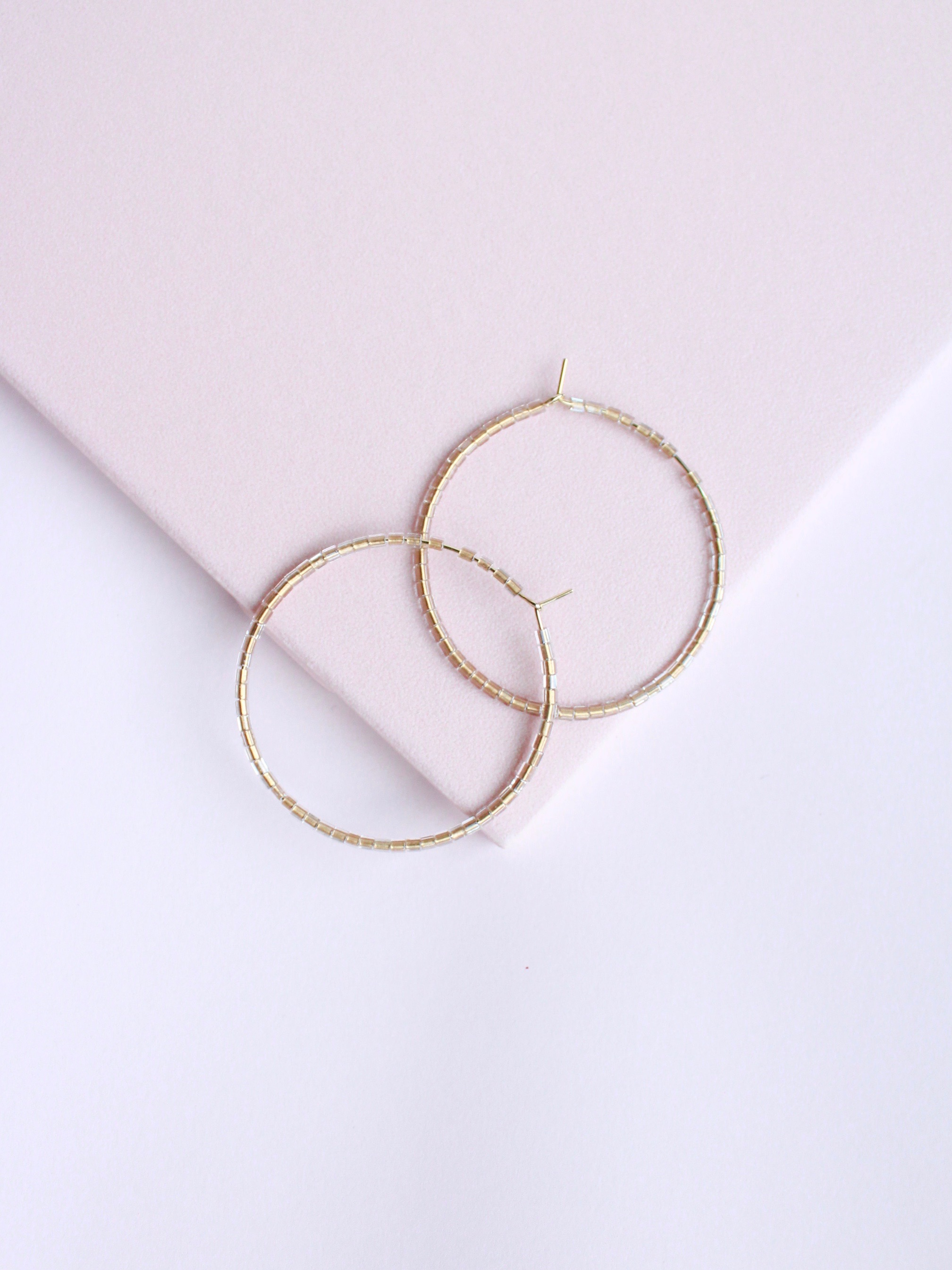 Dainty Beaded Hoops Gold