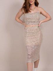 Glisten Skirt Sparkly Sequin Bodycon Front
