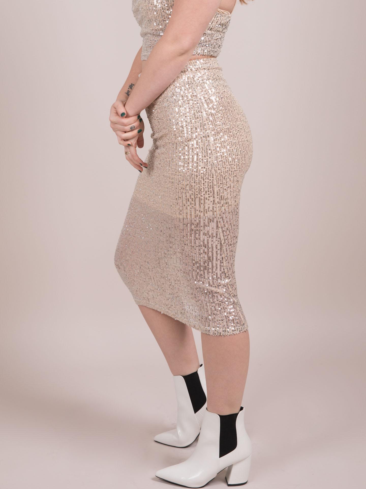 Glisten Skirt Sparkly Sequin Bodycon Side