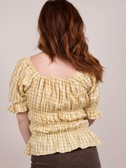 Shelby Top Check Design Ruffle Top Back