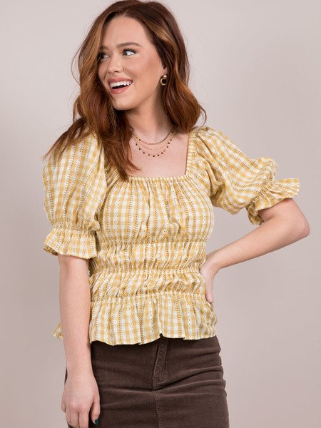 Shelby Top Check Design Ruffle Top