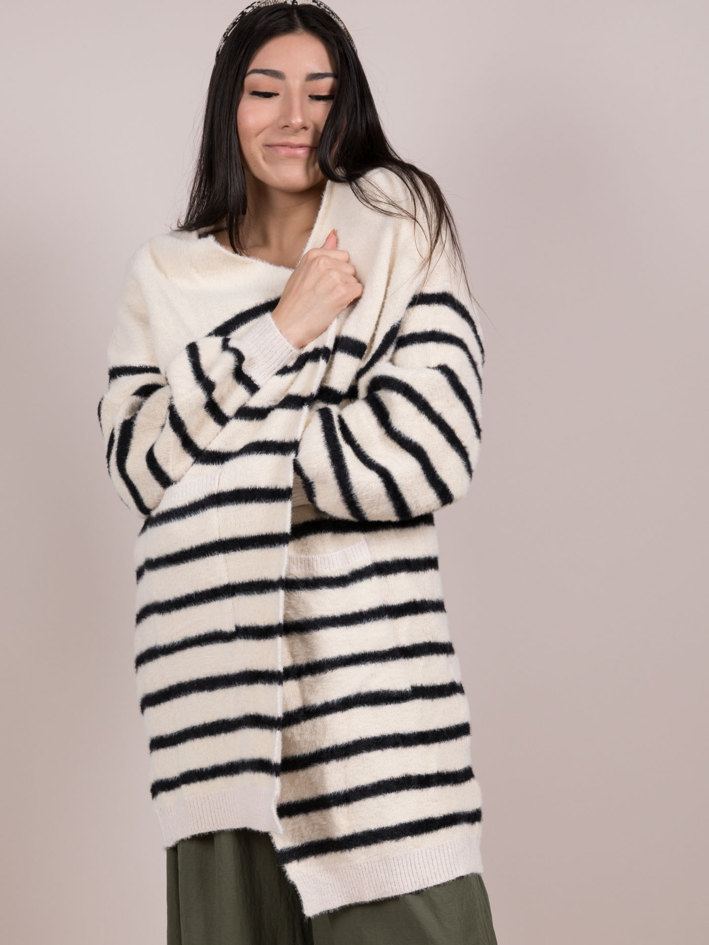 Cup Of Joe Cardigan Striped Fuzzy Layer Front