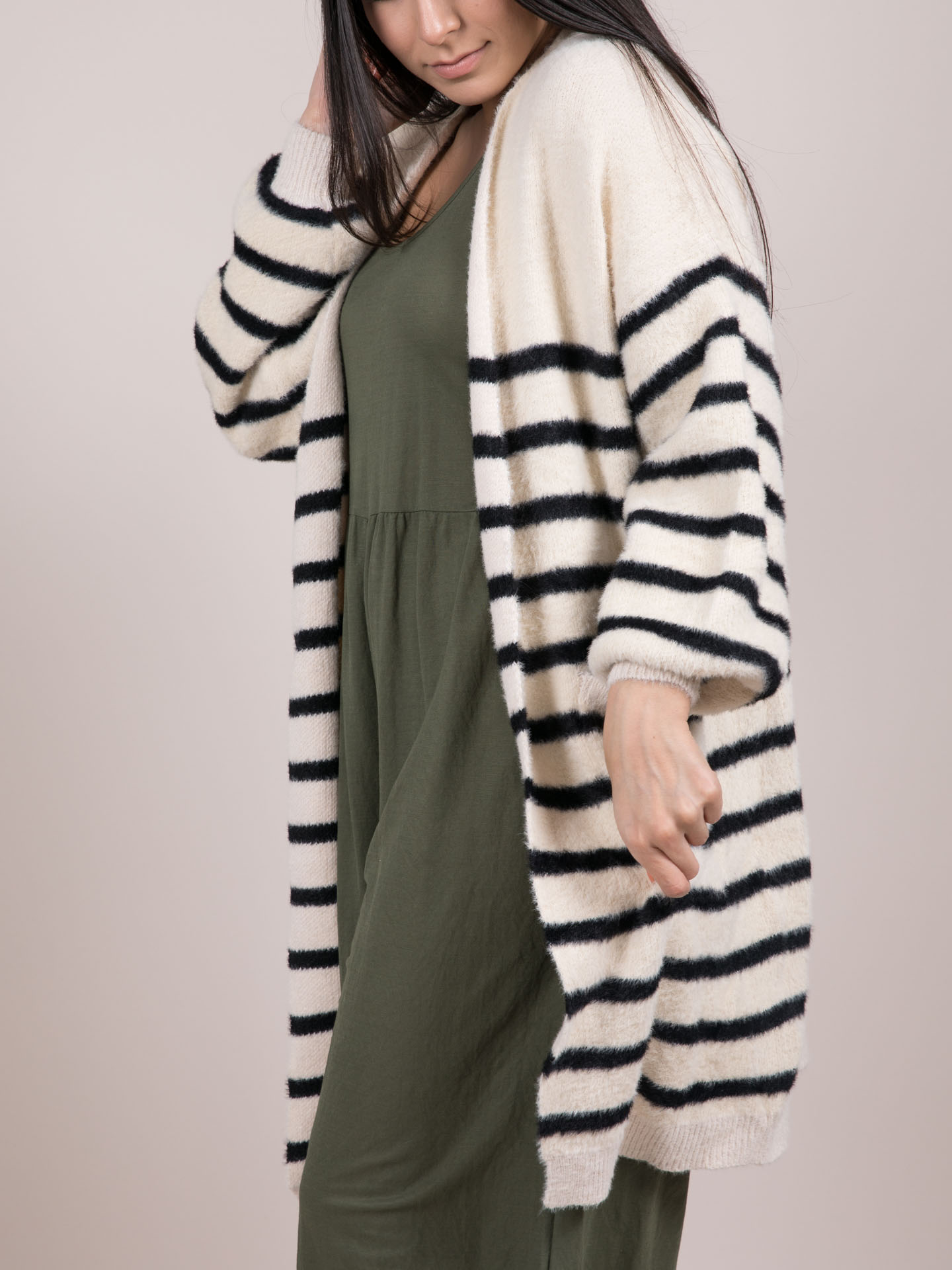 Cup Of Joe Cardigan Striped Fuzzy Layer Side