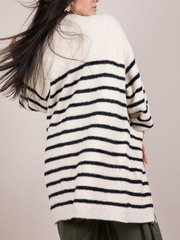 Cup Of Joe Cardigan Striped Fuzzy Layer Back
