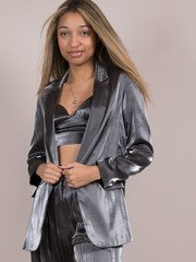Noa Metallic Blazer Silver Open Front Shiny
