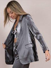 Noa Metallic Blazer Silver Open Front Shiny Side