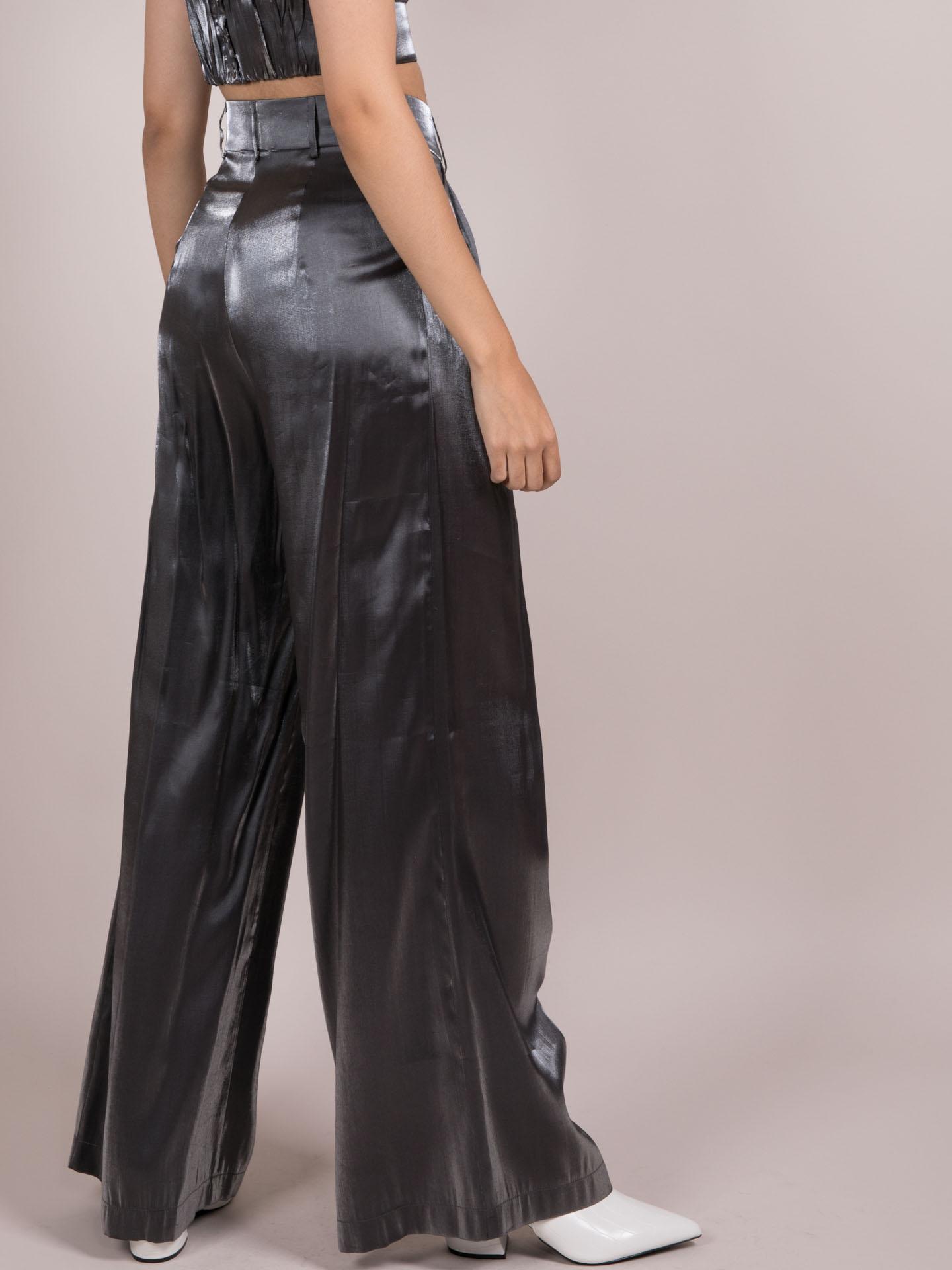 Noa Metallic Pants  Silver Wide Legged Bottoms Back