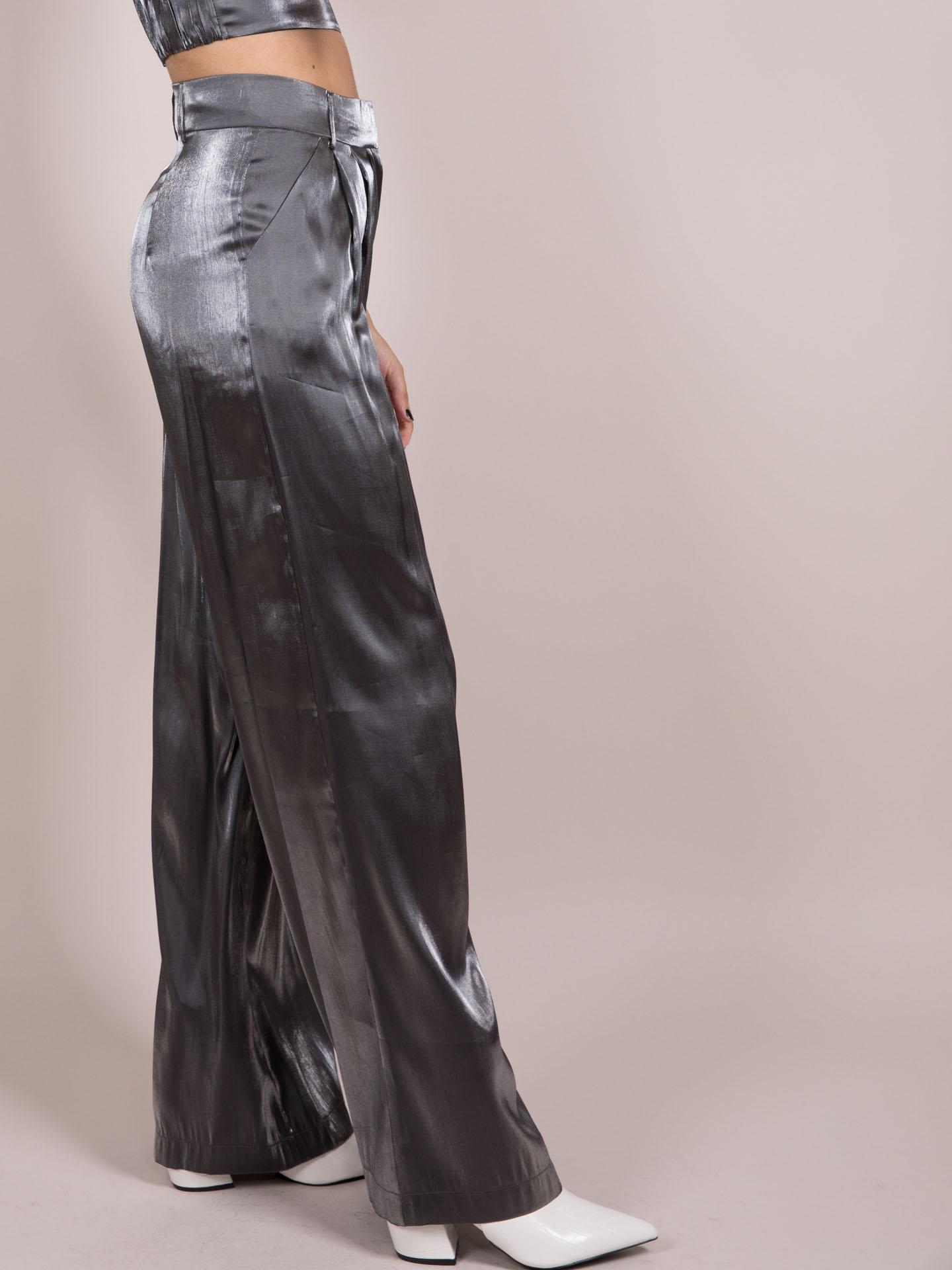 Noa Metallic Pants  Silver Wide Legged Bottoms Side