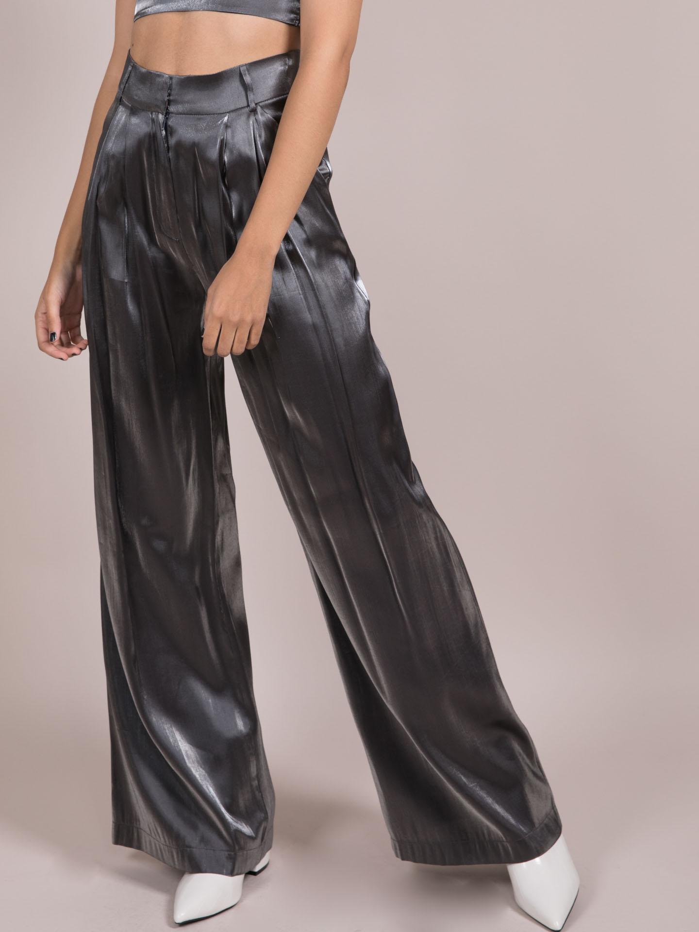 Noa Metallic Pants  Silver Wide Legged Bottoms Front