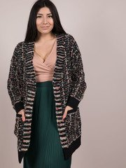 Athena Shiny Cardigan - Tinsel Stitched Fuzzy Layer Front