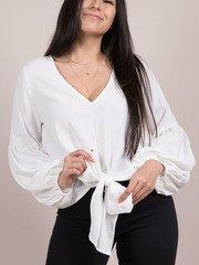 Julianna Blouse Tie Front Balloon Sleeve Top White Front