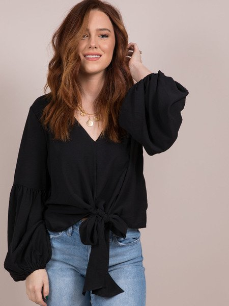 Julianna Blouse Tie Front Balloon Sleeve Top Front Black