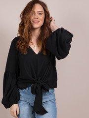 Julianna Blouse Tie Front Balloon Sleeve Top Front Black