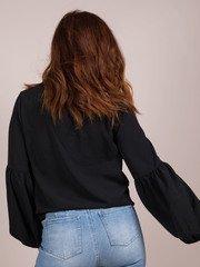 Julianna Blouse Tie Front Balloon Sleeve Top Black Back