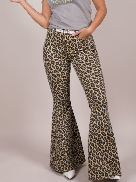 Lucille Leopard Denim Front Flares