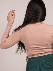 Fiona Top Wrap V Neck Cross Long Sleeve Butter Rum Back