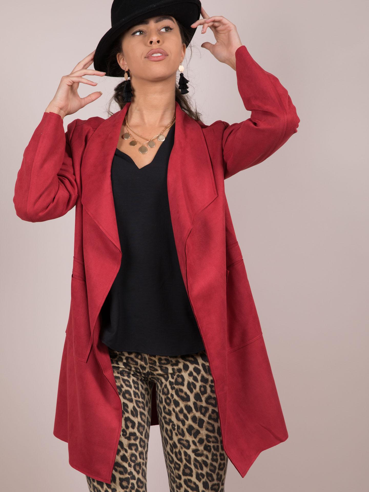 Angela Jacket Vegan Suede Trench Red