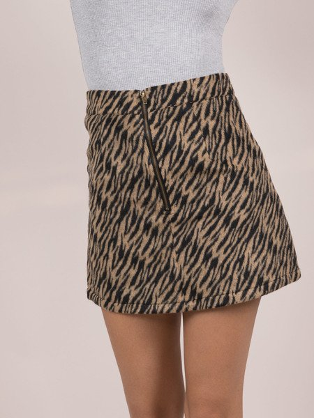 Suki Tiger Skirt Wool Zip Front Mini