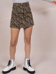 Suki Tiger Skirt Wool Zip Front Mini