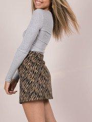 Suki Tiger Skirt Wool Zip Front Mini Side