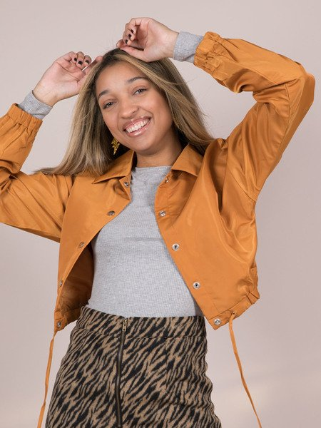 Lillian Jacket Yellow Crop Windbreaker Front