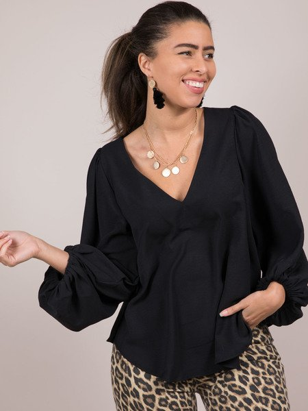 Noelle Blouse V Neck Balloon Long Sleeve Black
