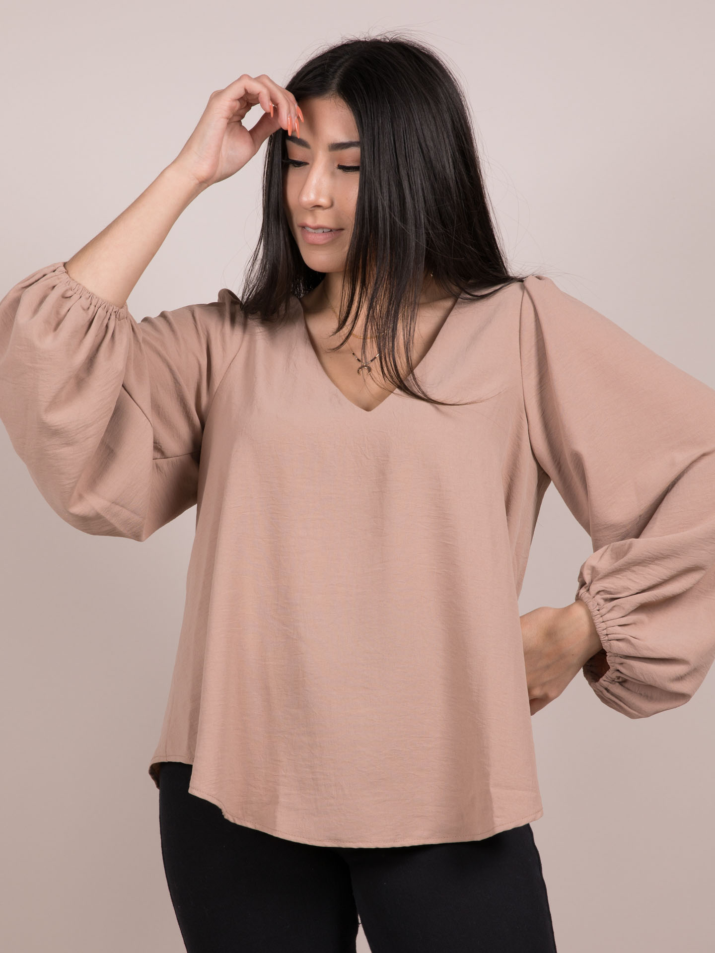 Noelle Blouse V Neck Balloon Long Sleeve Toast Front
